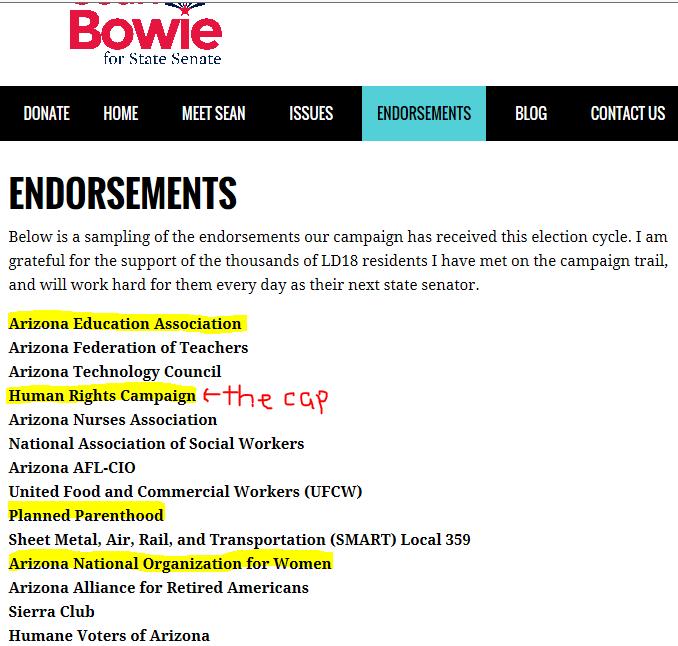 bowie endorsements