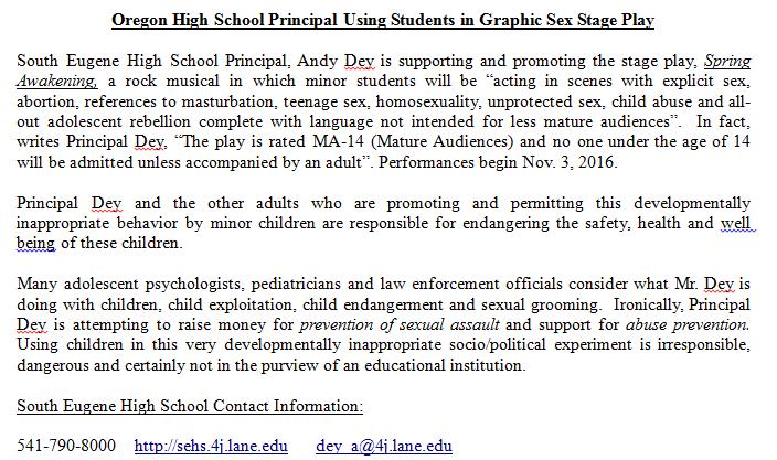 Perverted School Principal in Eugene, Oregon - The Education